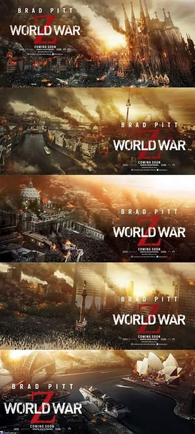 """Banners """"Guerra Mundial Z""""."""