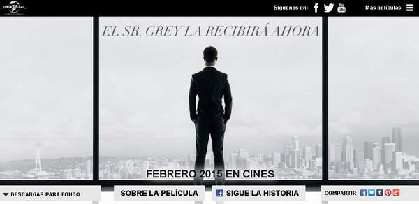 Cincuenta Sombras de Grey, web oficial